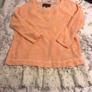 Anthropologie 3/4 length sweater with lace bottom